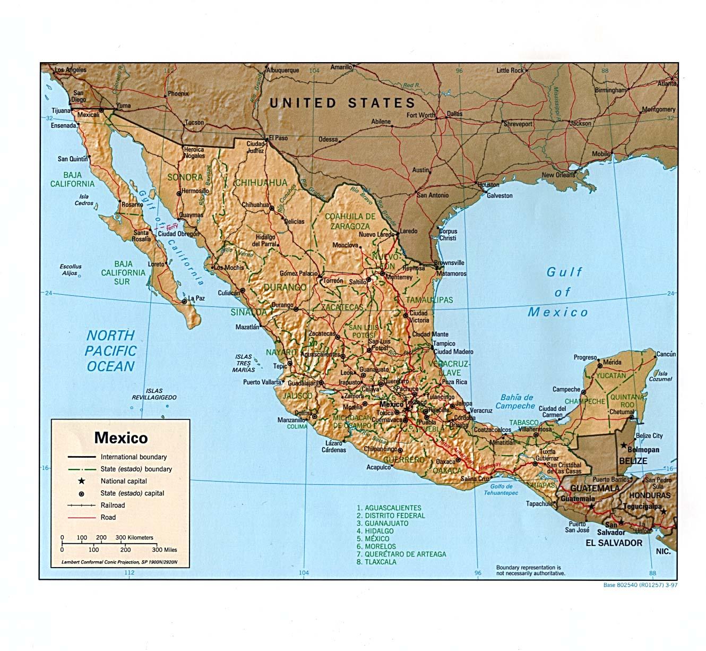 Mexico Maps Ecoinet - Political map of mexico