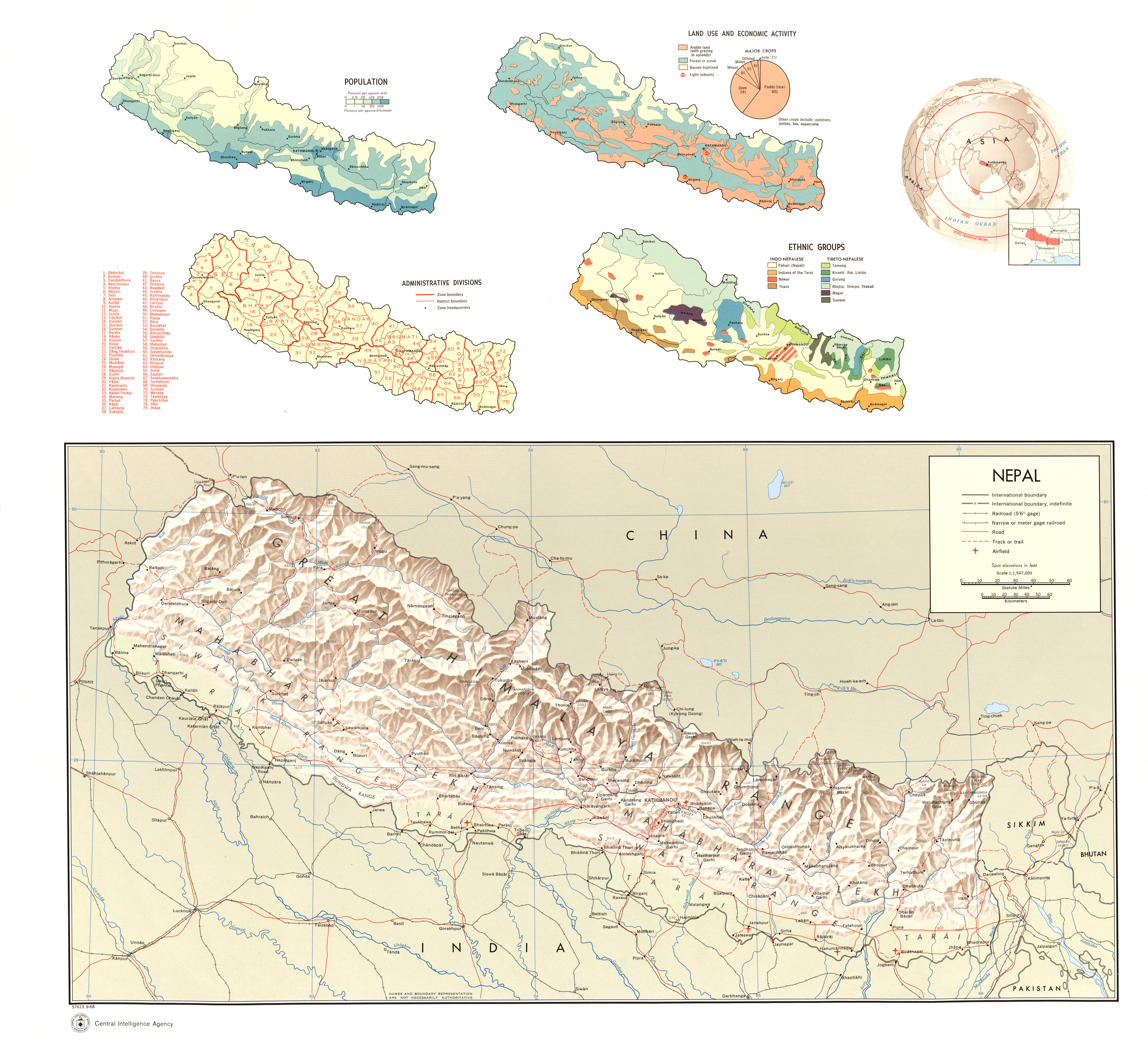 Nepal Ecoinet European Country Of Origin Information Network - Jamaica shaded relief map 1968