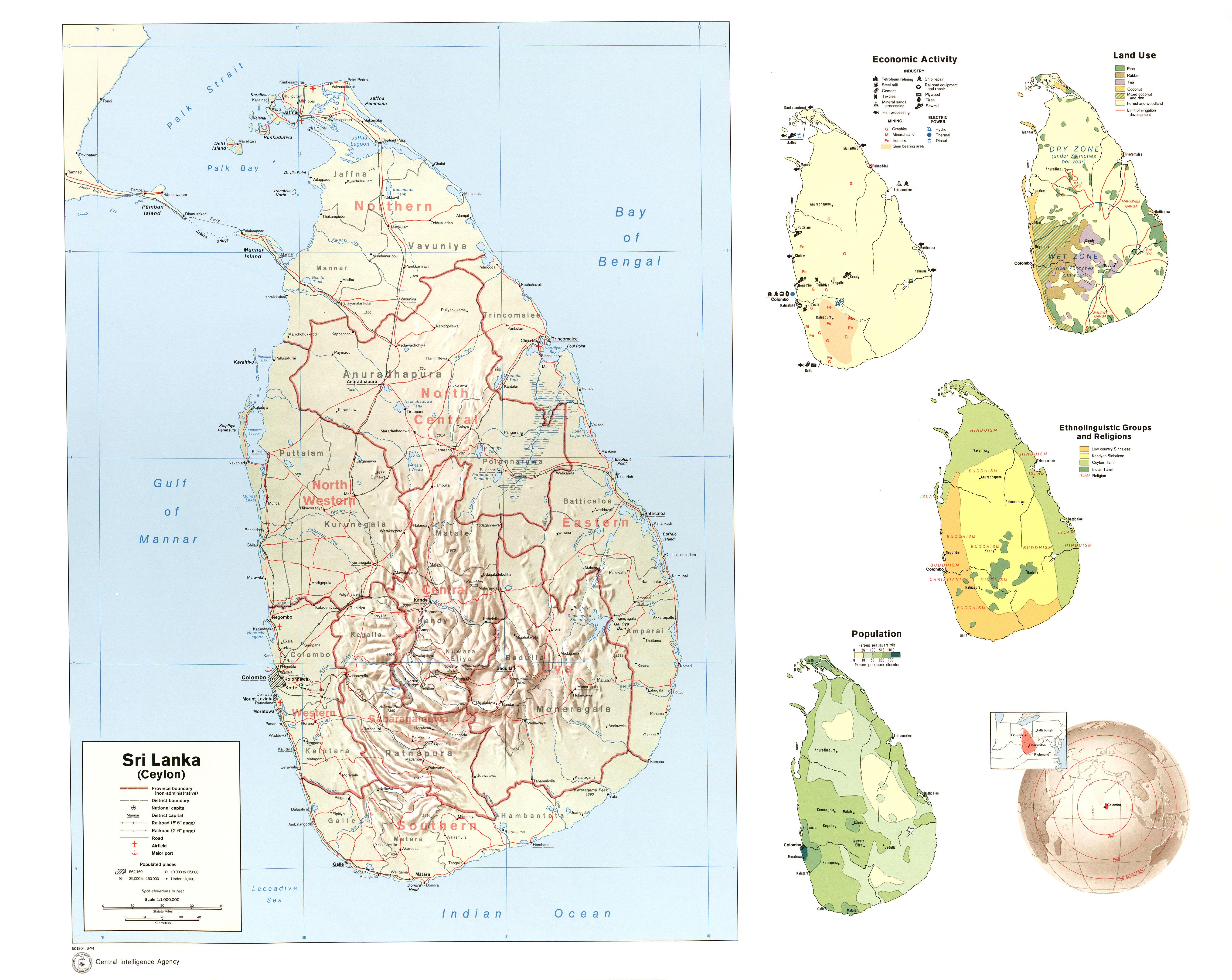 sri lanka shaded relief economic activity land use ethnolinguistic groups and religions population location 1974