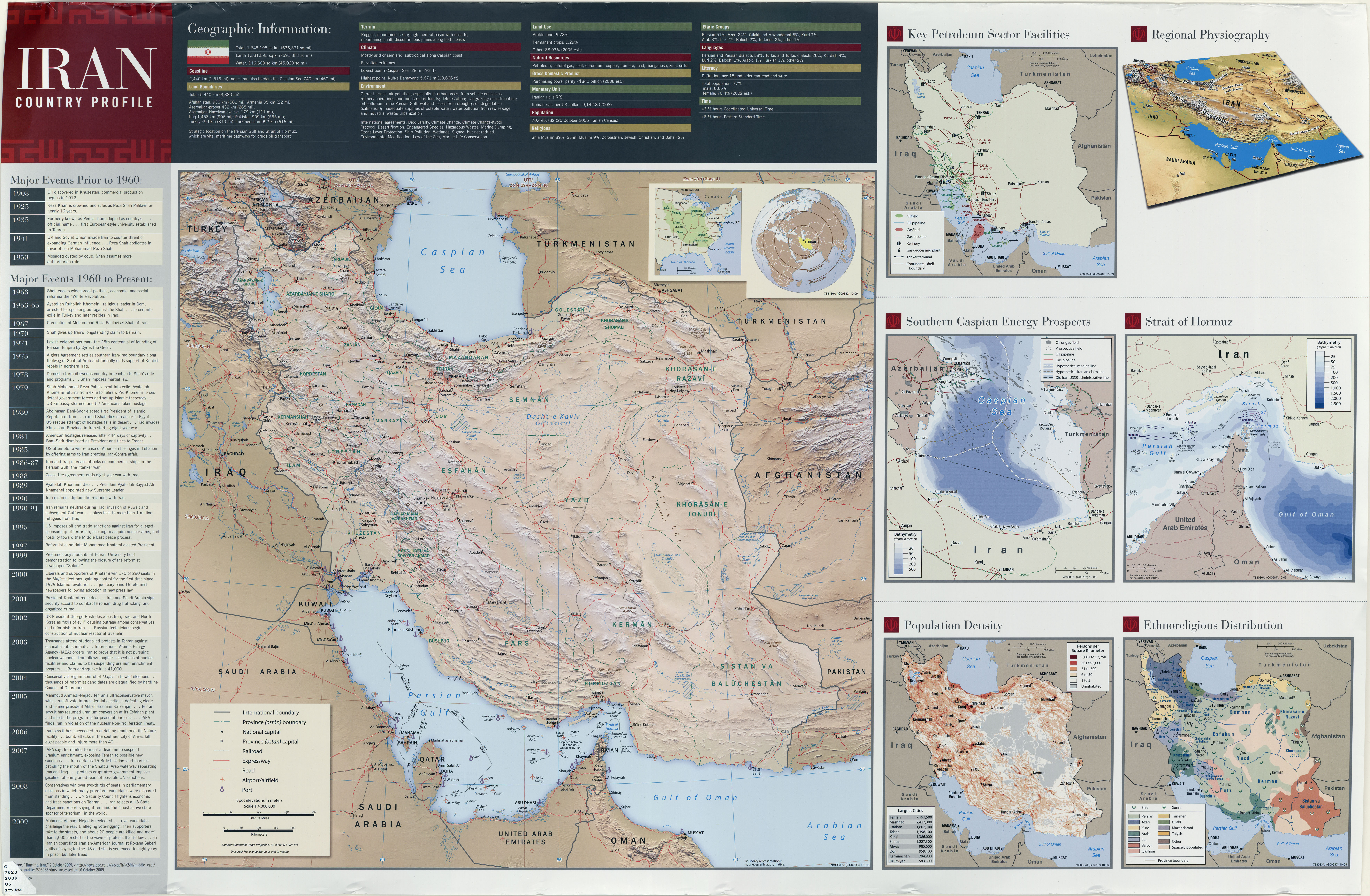 Iran islamic republic maps ecoi iran wall map 2009 iran country profile iran map with insets population density ethnoreligious distribution key petroleum sector facilities gumiabroncs Image collections