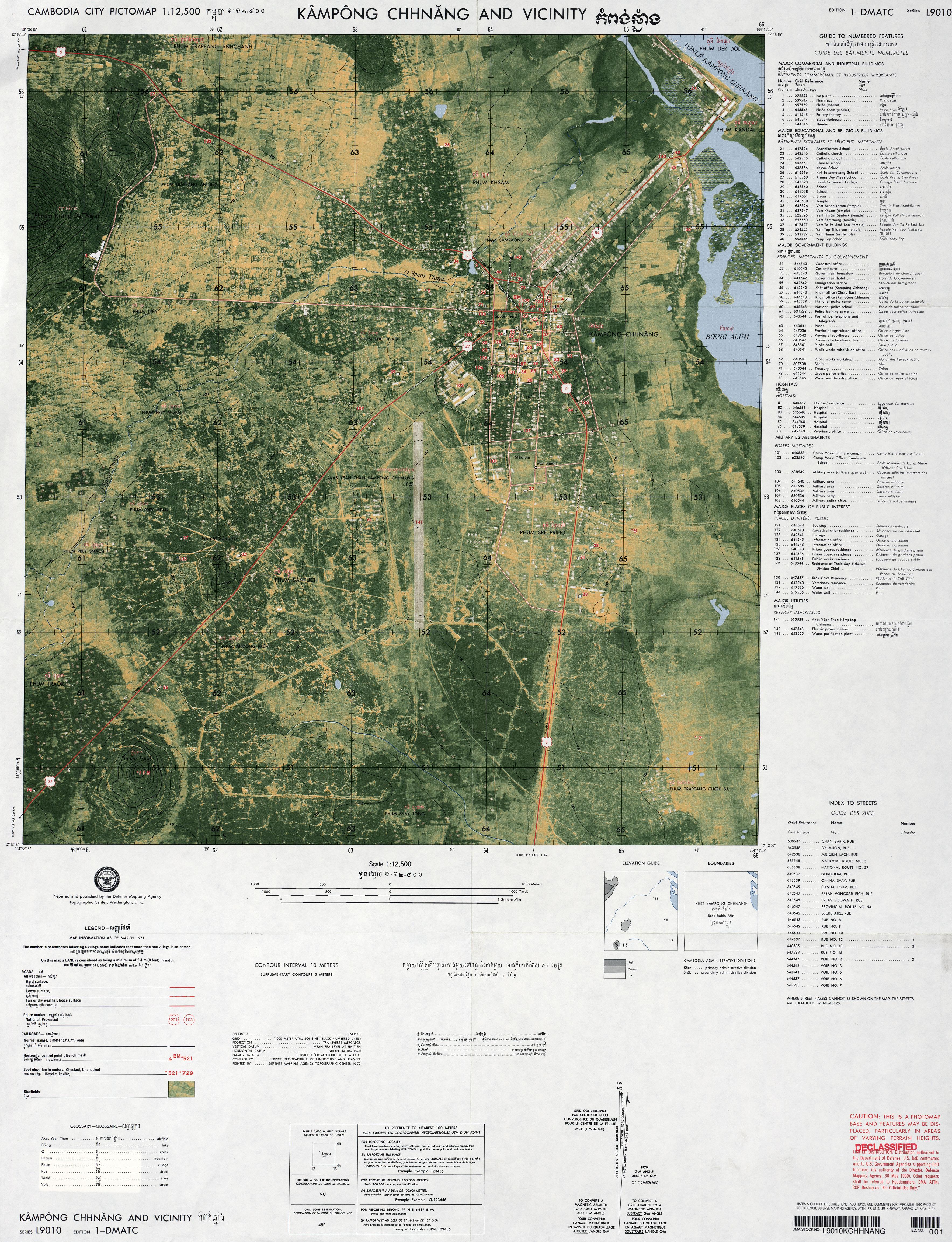 kampong chhnang and vicinity original scale 1 12 500 edition 1 dmatc series l9010