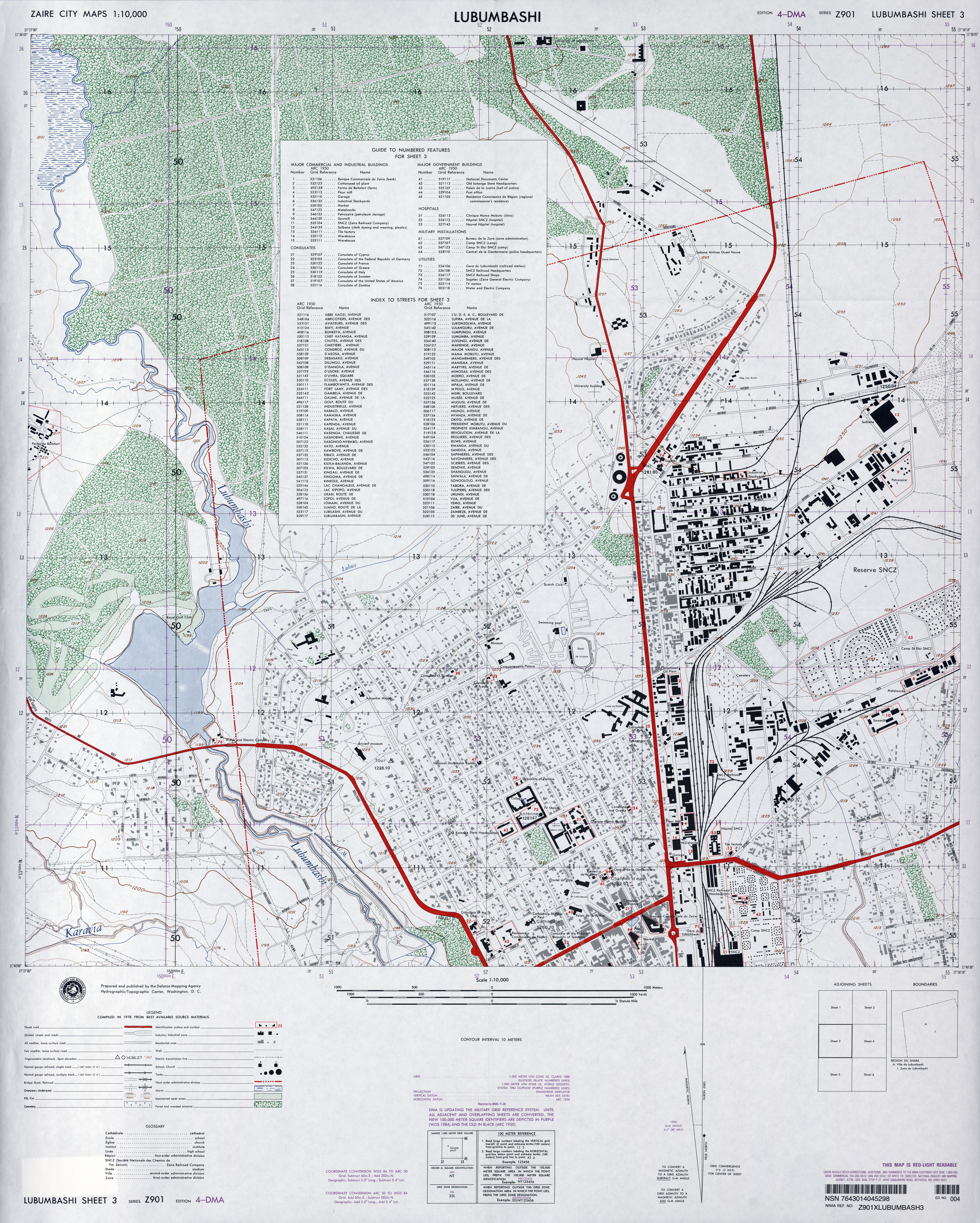 1978 University Of Texas Libraries Author U S Defense Mapping Agency City Map Of Lubashi Congo Democratic Republic