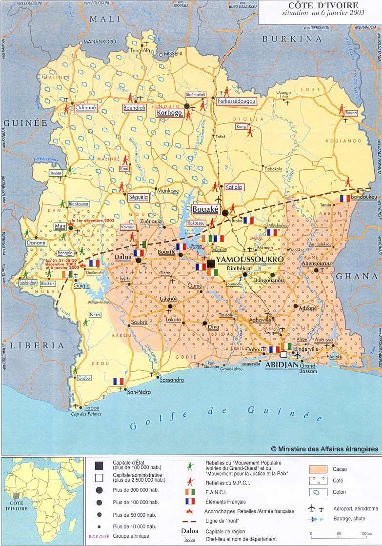 Côte d\'Ivoire - Landkarten - ecoi.net
