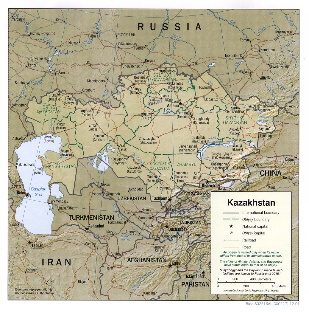 Kazakhstan maps ecoi political map kazakhstan shaded relief 2001 sciox Choice Image
