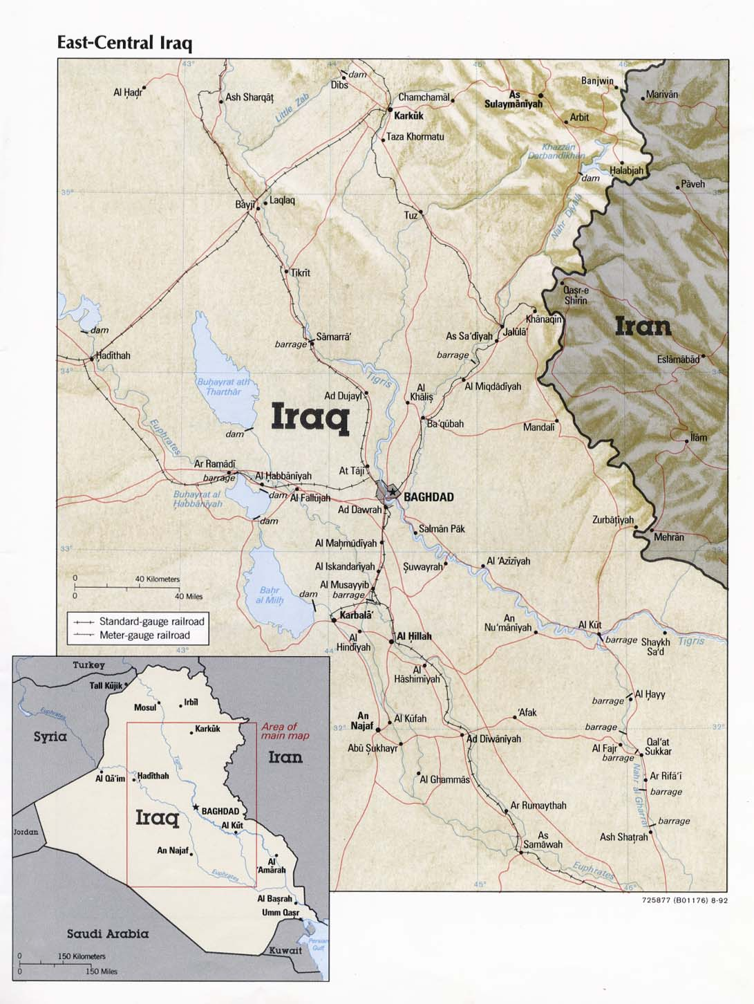 east central iraq from iraq a map folio cia 1992