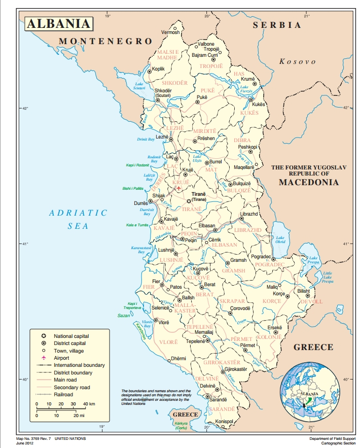 Albania Ecoinet European Country Of Origin Information Network - Albania map